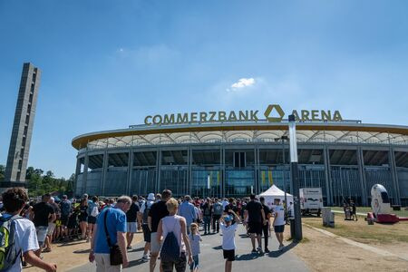 Frankfurt, Germany- July 2019: View of Commerzbank Arena and football fans. Commerzbank-Arena is home stadium of football club Eintracht Frankfurt. 報道画像