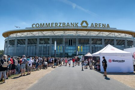 Frankfurt, Germany- July 2019: View of Commerzbank Arena and football fans. Commerzbank-Arena is home stadium of football club Eintracht Frankfurt. Редакционное