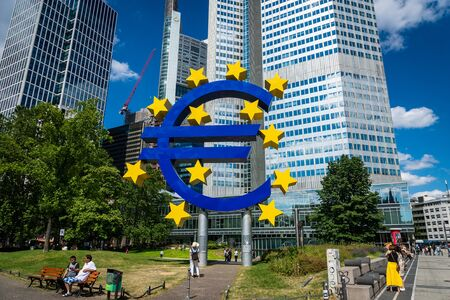 Frankfurt, Germany - July 2019: Euro Sign at European Central Bank (ECB), the central bank for the euro and administers the monetary policy of the Eurozone in Frankfurt, Germany.