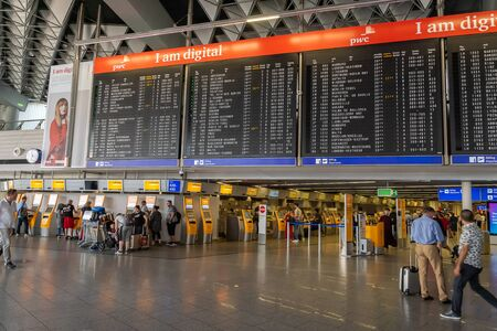 Frankfurt, Germany - July 2019: Frankfurt Airport architecture in terminal with flight information. Frankfurt am Main Airport is a major international airport located in Germany.