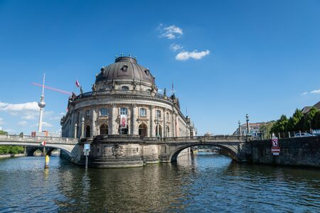 Berlin, Germany - July 2019: Museumsinsel (Museum Island) with famous TV tower on Spree river on sunny summer day. 報道画像
