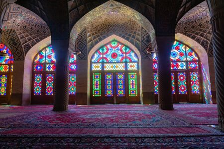Pink Mosque, Nasir ol Molk Mosque, inside view. Pink Mosque is one of the most famous architecture in Shiraz.