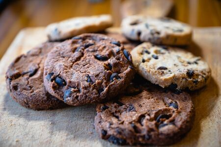chocolate chip cookie pile - baked cookies, dessert, sweet sugary product
