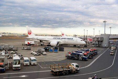 Tokyo, Japan - February 2020: JAL, Japan Airlines, aircraft on runway of Tokyo Haneda International Airport in Japan. JAL is an international airline, Japan's flag carrier 스톡 콘텐츠 - 142004054