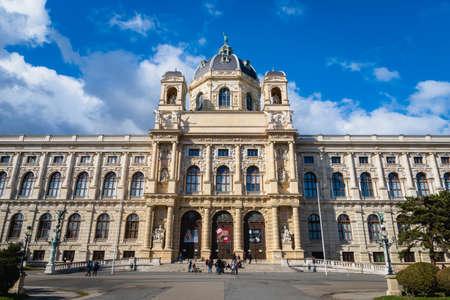 Vienna, Austria - March 2020:  Naturhistorisches Museum architecture and visitors (Natural History Museum) in the park Maria-Theresien-Platz in Vienna, Austria