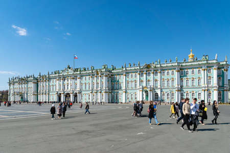 St Petersburg, Russia - April 5, 2019. State Hermitage Museum at the Palace Square in Saint Petersburg, the second-largest art museum in the world.
