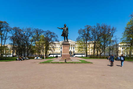 Saint Petersburg, Russia - May 2019:   Alexander Pushkin monument at the Arts Square. Architecture summer landscape of St Petersburg landmarks. Editorial