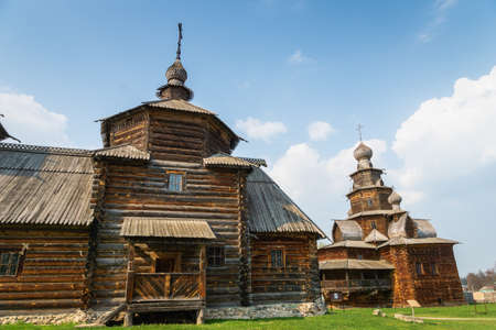 Suzdal, Russia - May 2019:  Wooden traditional buildings in the museum of wooden architecture in Suzdal, Russia. Suzdal is a Golden Ring town around Moscow  is a major tourist attraction.