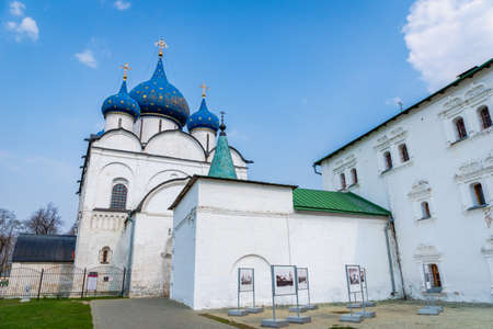 Suzdal, Russia - May 2019: Kremin architecture in Suzdal, Russia. -The Cathedral of the Nativity of the Virgin, Orthodox church is a popular tourist sight in Suzdal. Editorial
