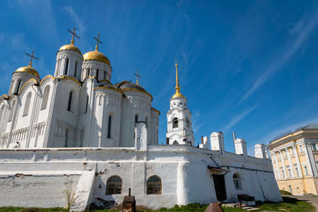 Vladimir, Russia - May 2019: The Assumption Cathedral in Vladimir the Golden Ring of Russia,  is a UNESCO heritage and a popular destination for tourists.
