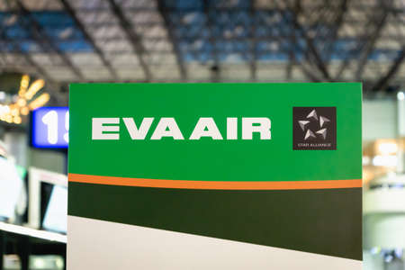 Taipei, Taiwan - February 2019: Eva Air check-in counter sign in Taipei  Taoyuan International Airport. Eva Air is one of the major airlines in the world, based at Taoyuan International Airport. Editorial