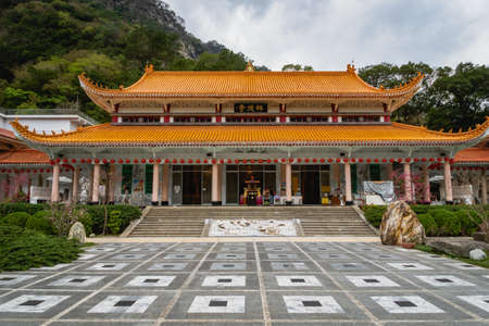 Taroko, Taiwan - April 2019: Hsiangte temple in Taroko National Park Taiwan, a popular tourist destination.