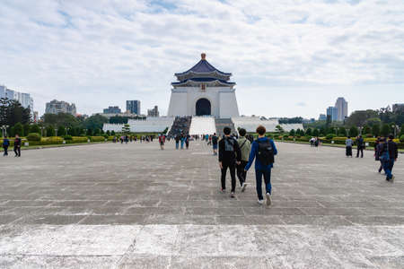 Taipei, Taiwan - March 2019: view of Freedom Square and visitors at Chiang Kai-shek Memorial Hall, Taipei, Taiwan. Freedom Square is a landmark in Taipei and popular among tourists. Editorial