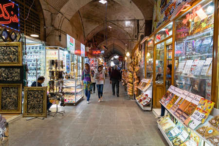 Isfahan, Iran - June 2018:  Isfahan Bazaar in Imam square in Isfahan, Iran. Bazaar of Isfahan is a popular tourist attraction.