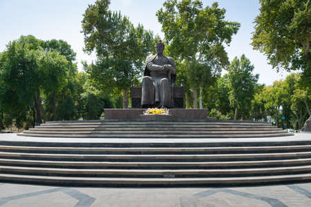 Samarkand, Uzbekistan - August 2018: Amir Temur statue in the center of Samarkand. Amir Temur is a popular landmark for tourists and visitors.