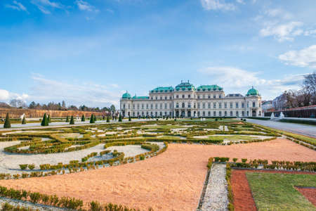Vienna, Austria - March 2020: Belvedere palace and park - a popular historical architecture for visitors and tourists in Vienna, Austria. Editorial