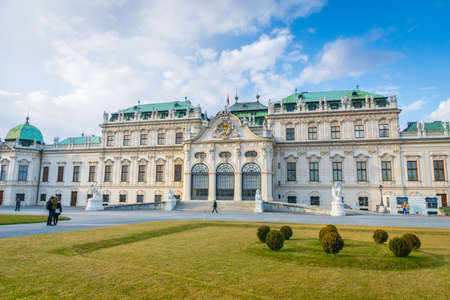 Vienna, Austria - March 2020: Belvedere palace and park - a popular historical architecture for visitors and tourists in Vienna, Austria.