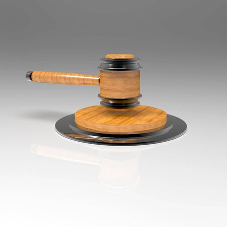 Judges titanium hammer on a stand. Side view
