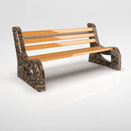 3D render Betonbank-Bituma-2 marble dark brown