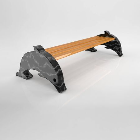 3D render of Park benches on a light background. Wooden, metal, stone and concrete small architectural forms. Use these photos in your advertising campaigns to attract a lot of interest.