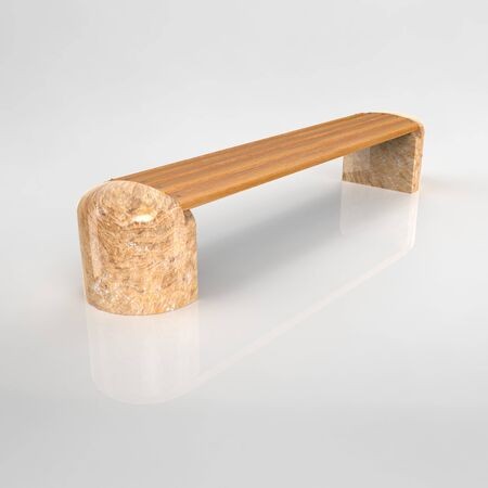 3d render park bench Betonbank-Bituma-40 Yellow Granite