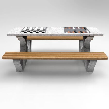 3D render of Park benches on a light background. Wooden, metal, stone and concrete small architectural forms. Use these photos in your advertising campaigns to attract a lot of interest. Standard-Bild