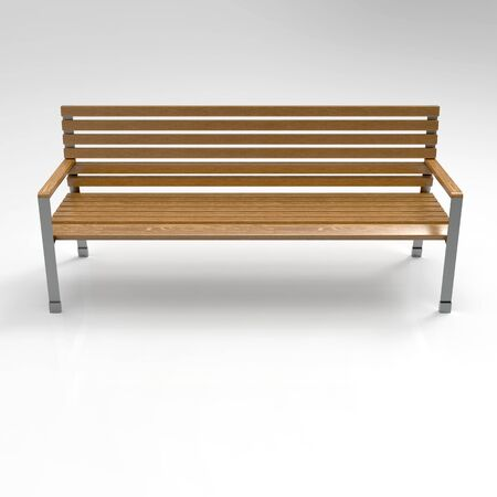 3D image of Garden benches on a light background. Wooden, metal, stone and concrete small architectural forms. Use these photos in your advertising campaigns to attract a lot of interest.