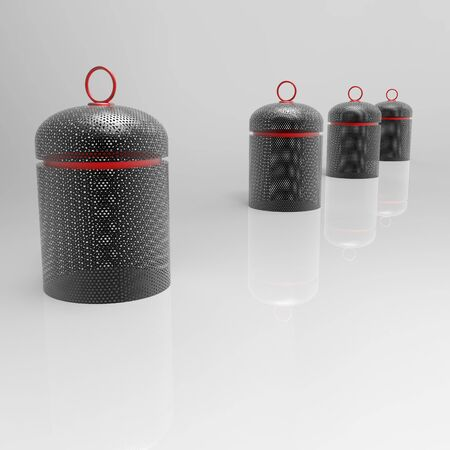 3D Parking barriers cylinder of perforated metal