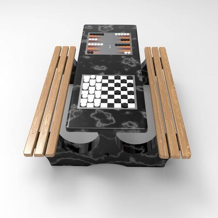 3D image chess table for outdoor 08 Stok Fotoğraf