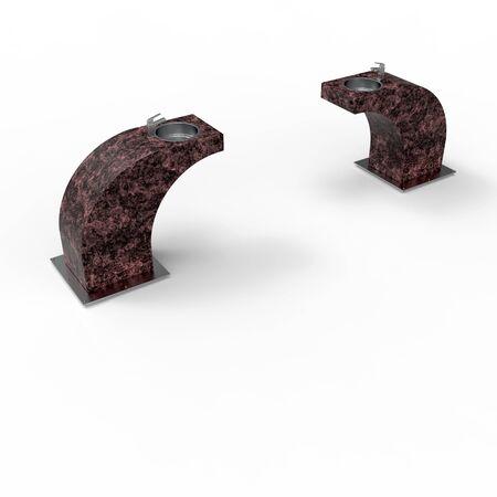 3d image of drinking garden fountain maroon granite