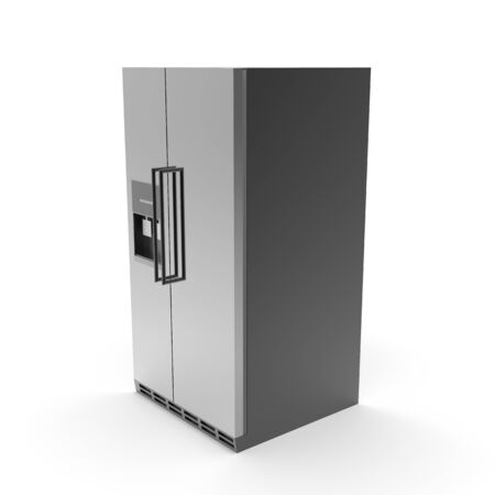 3d image of a color refrigerator with freezer 03