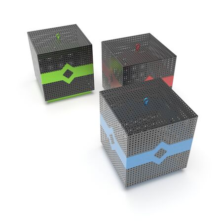 3d image of color Fence cube with an ornament