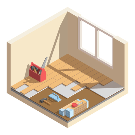 Isometric low poly home room renovation icon vector illustration. Laying of laminate or parquet board. Tools and materials for room repair.