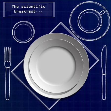 Set of two realistic white empty flat plates with fork, knife, coffee cup, glass and napkin. Top view isolated on paper grid background. Table setting in graph futuristic style vector.