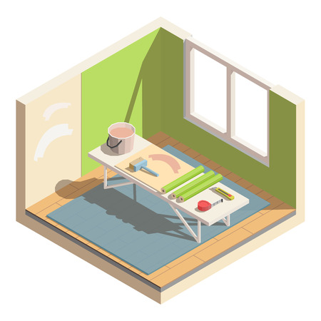 Isometric low poly home room renovation icon - vector illustration. Wallpapering, repair walls. Tools and materials for room repair. Illustration