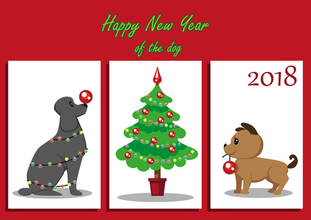 Two cute puppies decorate a Christmas  tree with red balls. The dog is decorated with a Christmas garland and keeps a ball on its nose. Christmas card, congratulations on the New Year.