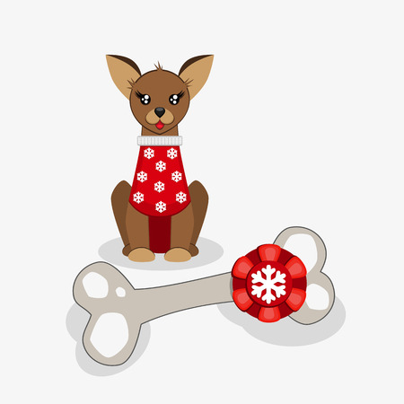 A cute puppy received a big bone as a gift for the New Year. A small dog in a red sweater with snowflakes. Congratulations on the New Year. Vector illustration.