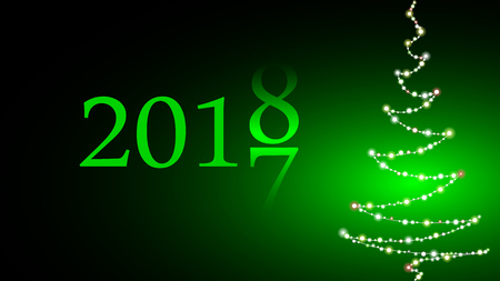 The change of the year. 2017 is replaced by 2018. Christmas tree made of lights on green background. Congratulations on the New Year, wallpaper - vector illustration.