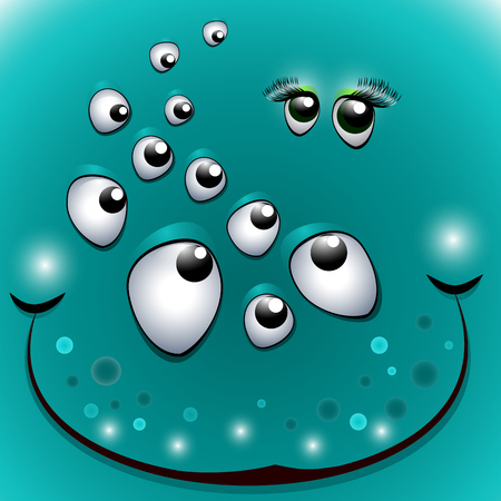 Funny face the many-eyed monster. Mens eyes, flirting with womens eyes. Halloween monster mask - vector. Çizim