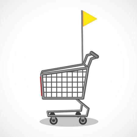 Vector shopping trolley with yellow flag. Shopping carts. Business Retail Equipment.