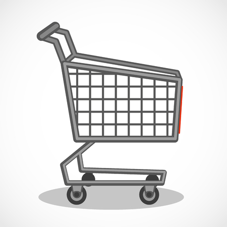 Vector shopping trolley. Shopping carts. Business Retail Equipment.