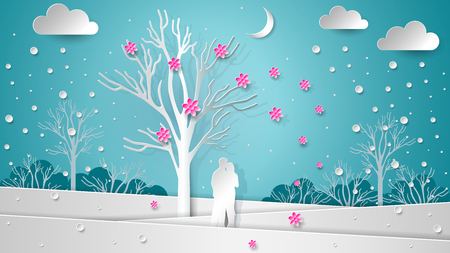 Lovers in the background of the winter landscape under a flowering tree. Flying flowers and snow. Paper texture New Year, Christmas, Valentines Day illustration - vector decor.