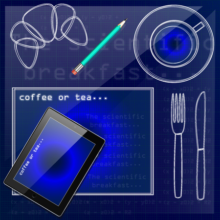 Set of realistic tablet and pencil, virtual coffee cup, bagel, fork, knife, and napkin. Top view isolated on paper grid background. Table setting in graph futuristic style. Illustration