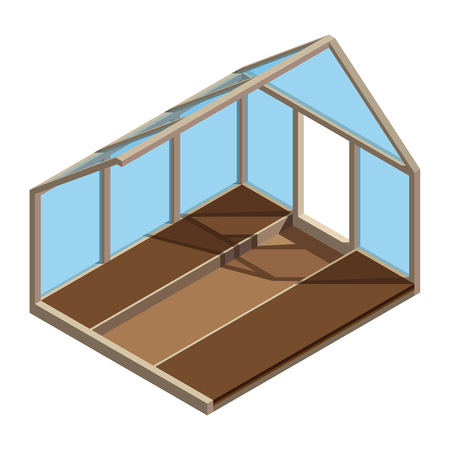Empty greenhouse in 3D design. Hothouse inside view - vector illustration. Illustration
