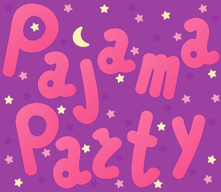 Pajama sleepover party card. Slumber party invitation card or poster template. Handwritten lettering. Colorful background - vector illustration.