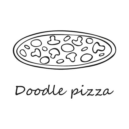 Single hand-drawn pizza. In doodle style, black outline isolated on a white background. For banners, cards, coloring books, stikers, design, business, menu. Vector illustration.