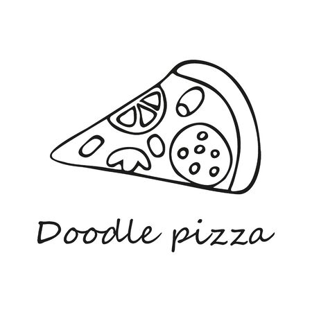 Single hand-drawn a slice of pizza. In doodle style, black outline isolated on a white background. For banners, cards, coloring books, stikers, design, business, menu. Vector illustration.