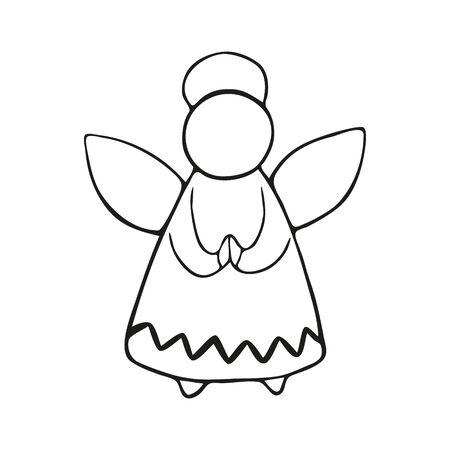 Singolo giocattolo angelo di Natale e Capodanno disegnato a mano. In stile scarabocchio, contorno nero isolato su sfondo bianco. Per striscioni, cartoline, libri da colorare, adesivi, design, affari. Illustrazione vettoriale.