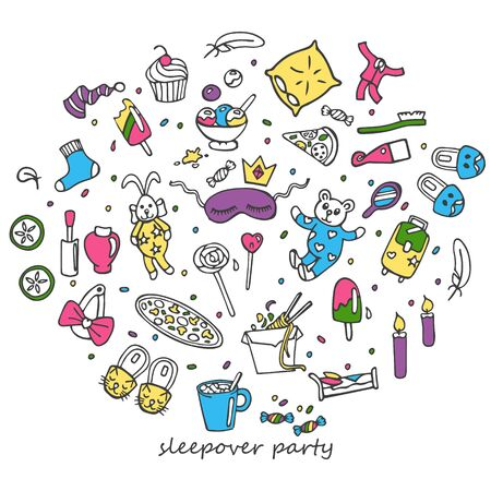 A coloring set of hand-drawn objects for pajama party. In doodle style, black outline isolated on a white background. For banners, cards, coloring books, stikers, design, business. Vector illustration
