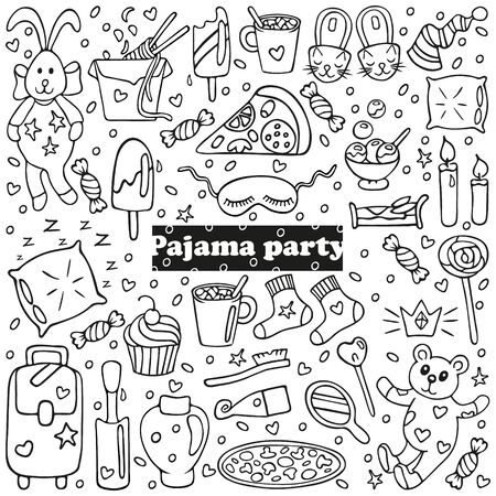 Big set of pajama party icons. Sleepover or slumber party objects in doodle style. Isolated on white background. For banners, cards, coloring book, stickers design. Cute hand drawn vector illustration
